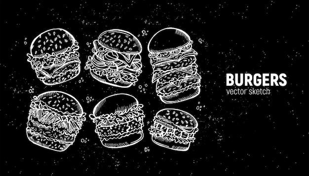 ハンバーガーのセット。ファーストフードのスケッチ Premiumベクター
