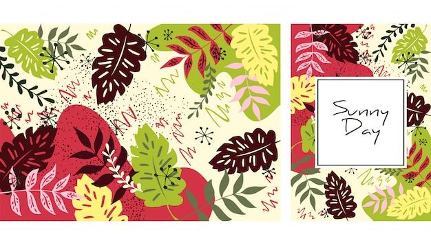 手描きの葉のパターン Premiumベクター