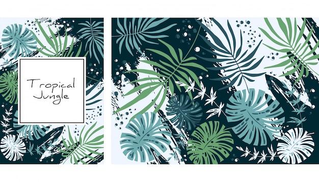 Тропические джунгли шаблон. Premium векторы