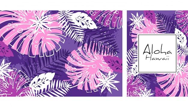 熱帯の葉のシームレスなパターン、手描きの水彩ベクトル図。モンステラとヤシの木のプリント。夏のデザイン。 Premiumベクター