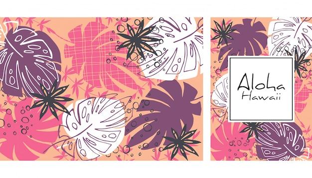 熱帯の葉のシームレスなパターン、手描きの水彩ベクトル図。熱帯植物が印刷されます。夏のデザイン。 Premiumベクター
