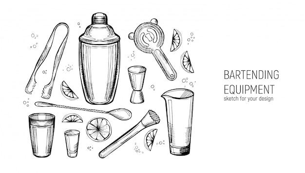Комплект оборудования для барменов. шейкер, джиггер, ложка, стакан для смешивания, грязь, ситечко, щипцы для льда. ручной обращается эскиз. Premium векторы