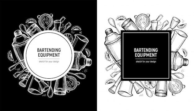 スケッチスタイルの消耗品付きバーテンダーフレーム Premiumベクター