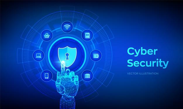 サイバーセキュリティの概念。シールド保護アイコン。デジタルインターフェイスに触れるロボットの手。 Premiumベクター