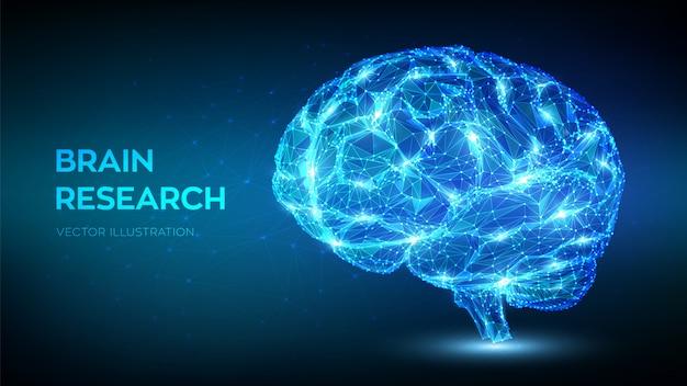 脳。低ポリゴンの抽象的なデジタル人間の脳。人工知能の仮想エミュレーション科学技術コンセプト。 Premiumベクター