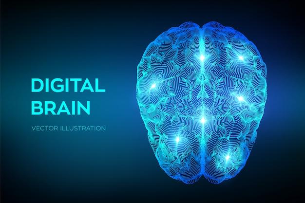 脳。デジタル脳。人工知能の仮想エミュレーション科学技術。 Premiumベクター