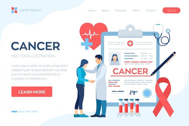 Медицинский диагноз рак. врач заботится о пациенте. обнаружение и диагностика онкологических заболеваний. Premium векторы