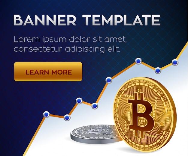 暗号通貨の編集可能なバナーテンプレート。ビットコイン。黄金と銀のビットコインコイン。 Premiumベクター
