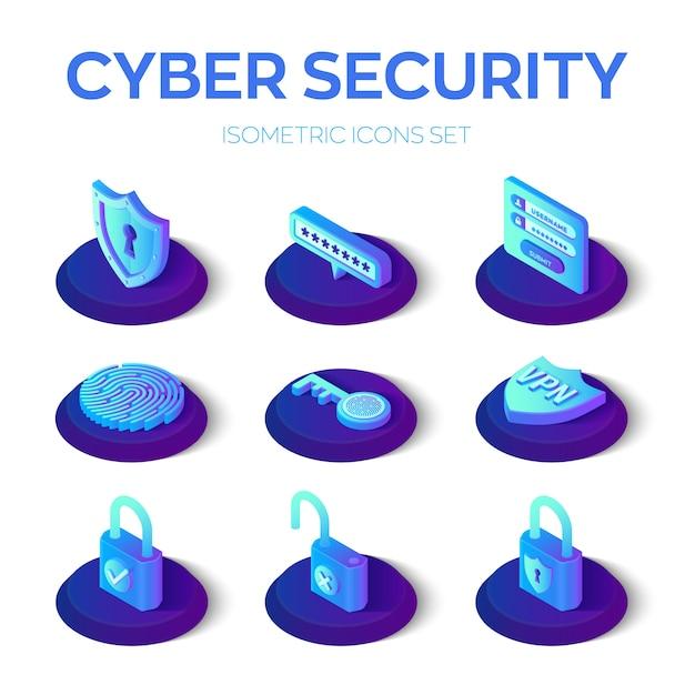 サイバーセキュリティのアイコンを設定 Premiumベクター