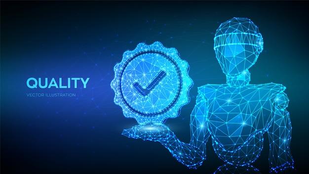 Качество. сертификат соответствия стандарту контроля качества. абстрактный робот, проведение проверки качества значка. Premium векторы
