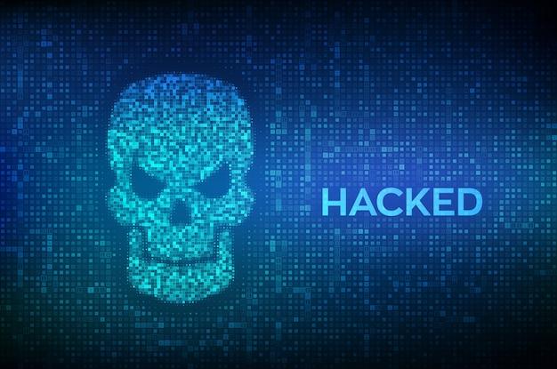 Взломан. форма черепа с двоичным кодом. киберпреступности, интернет-пиратства и взлома. Premium векторы