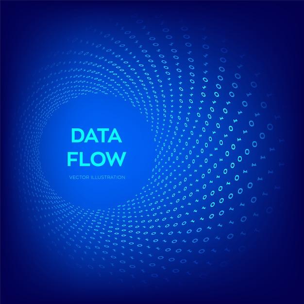 バイナリデータフロー。仮想トンネルワープ。 Premiumベクター