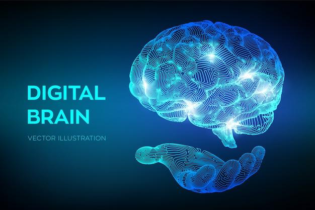 Мозг. цифровой мозг в руках. Premium векторы