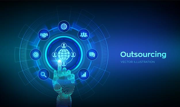 アウトソーシングと人事。ソーシャルネットワークとグローバルな採用。グローバルリクルートメントビジネスと仮想画面上のインターネット。デジタルインターフェイスに触れるロボットの手。図。 Premiumベクター