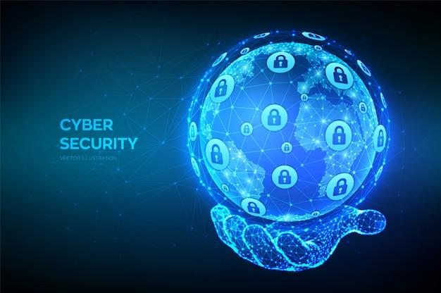 サイバーセキュリティ。手で多角形の地球惑星地球を抽象化します。サイバーデータセキュリティまたはネットワークセキュリティのアイデア。 Premiumベクター