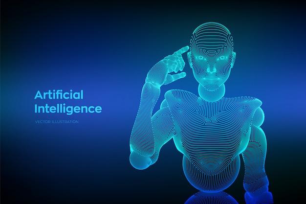 Абстрактный каркасный женский киборг или робот держит палец возле головы и думает или вычисляет, используя ее искусственный интеллект. Бесплатные векторы