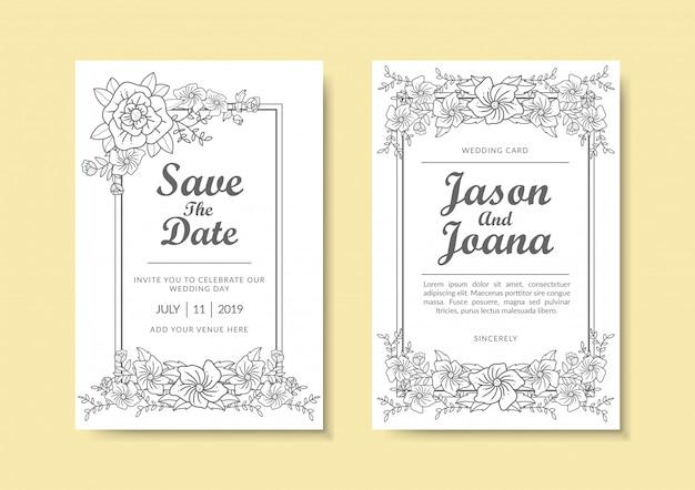 Цветочный шаблон приглашения на свадьбу. Premium векторы