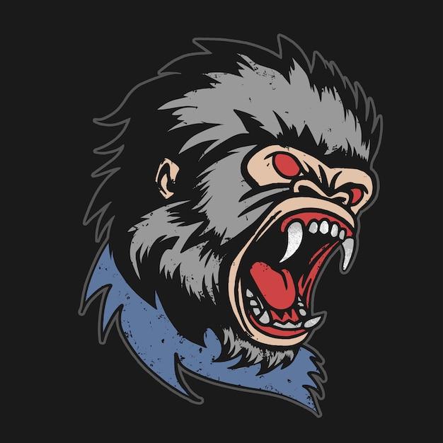 Сердитый горилла глава вектор Premium векторы