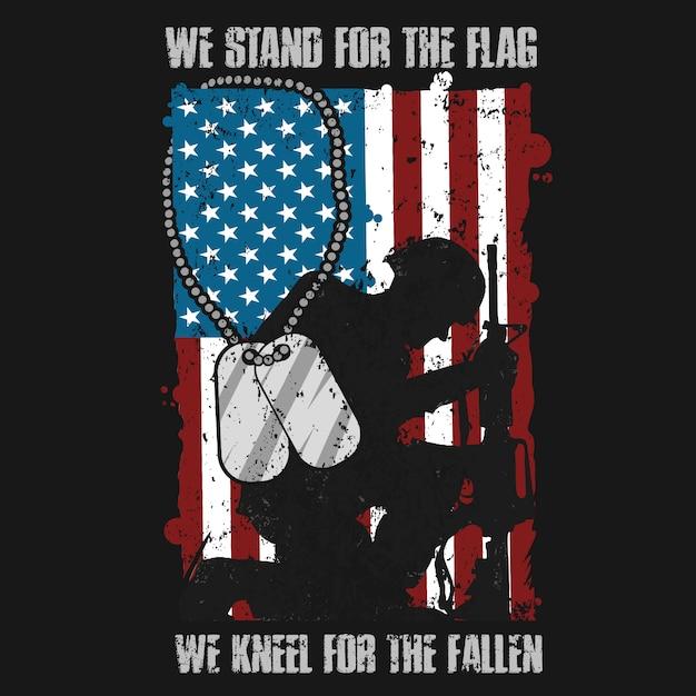 アメリカのベテラン軍は、倒れたベクトルの旗のひざの前に立つ Premiumベクター