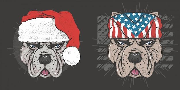 ピットブルドッグクリスマスとアメリカアメリカンドッグベクトル Premiumベクター