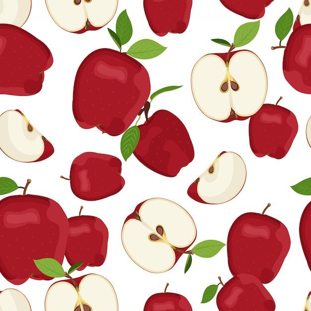 アップルのシームレスなパターンとスライスのドロップ。赤いリンゴフルーツ Premiumベクター