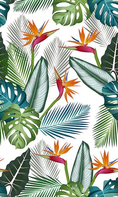 極楽鳥とのシームレスなパターン:熱帯の葉、ヤシ、モンステラ、クワズイモ、カラテア、ジャングルの葉 Premiumベクター