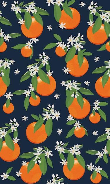Бесшовные оранжевые фрукты с цветами и листьями Premium векторы