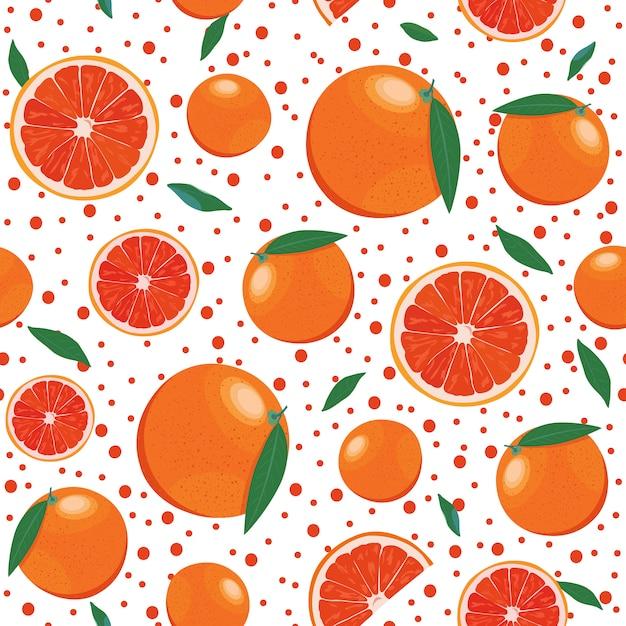 Оранжевые фрукты бесшовные модели с игристым Premium векторы