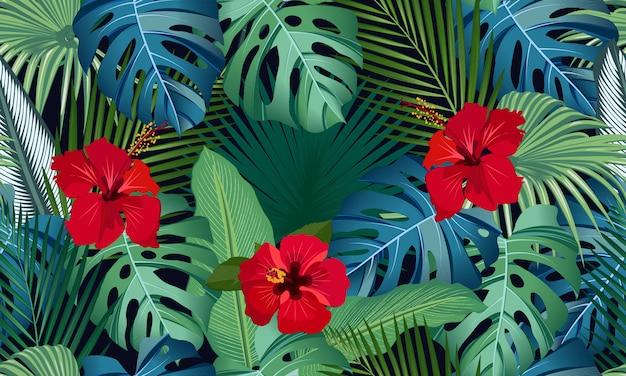 赤いハイビスカスの花と熱帯の葉のシームレスなベクターパターン Premiumベクター