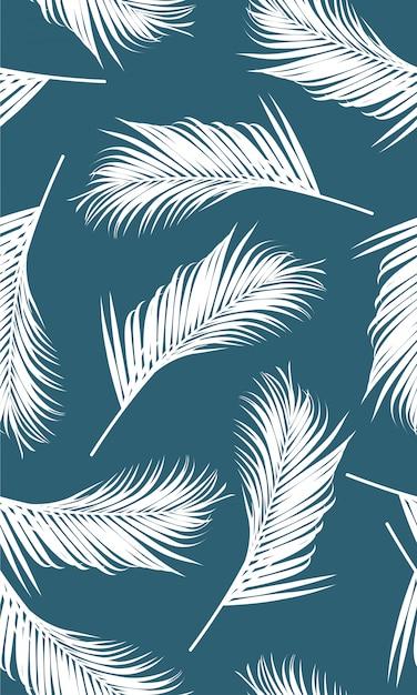 Бесшовные с белыми пальмами Premium векторы