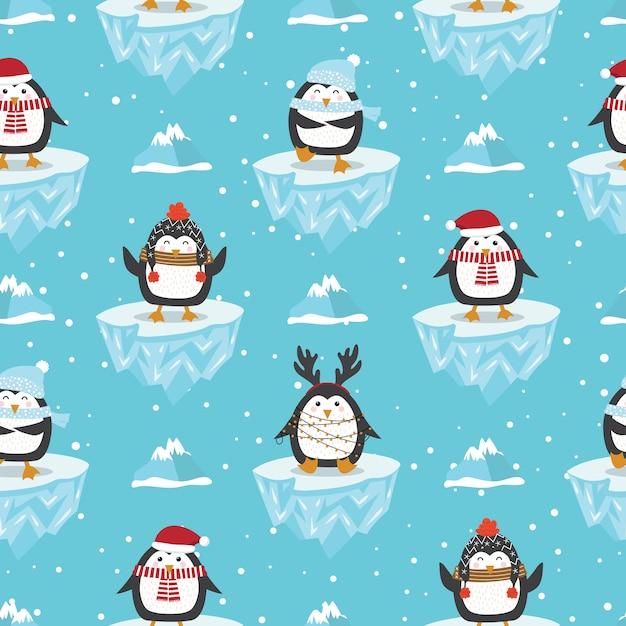 Рождественский фон с пингвином на льдине Premium векторы