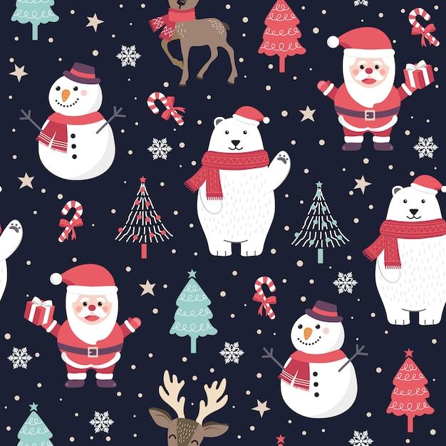 Рождество бесшовные модели с санта-клаусом и белым медведем Premium векторы