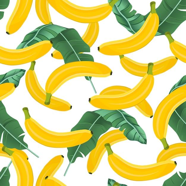 バナナの葉とバナナのシームレスパターン Premiumベクター