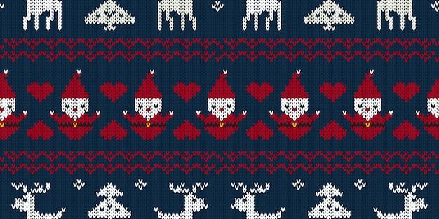 クリスマスのシームレスなニットパターン背景 Premiumベクター