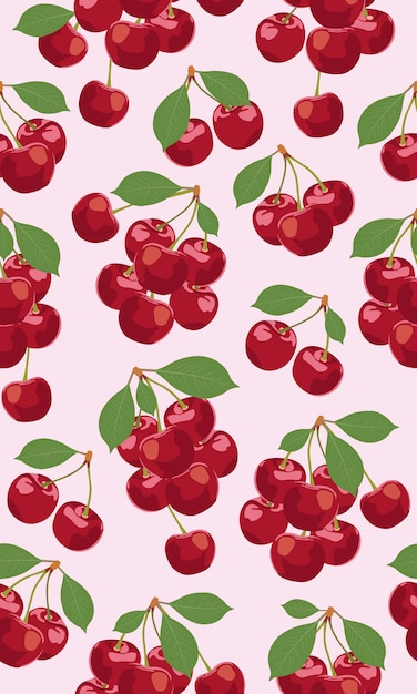 チェリーフルーツのシームレスパターンの束 Premiumベクター
