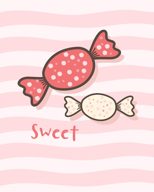 かわいいキャンディーで幸せなバレンタインデー Premiumベクター