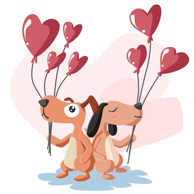 С днем святого валентина пара собак с воздушным шаром Premium векторы