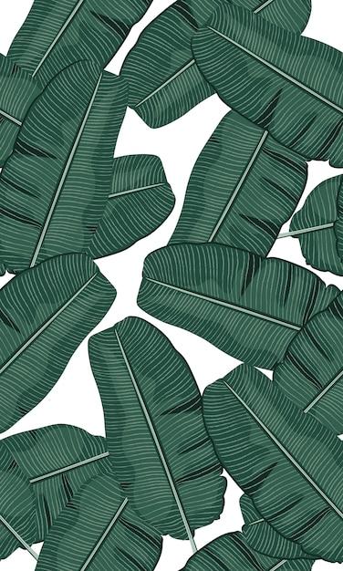 シームレスな緑の熱帯バナナの葉 Premiumベクター