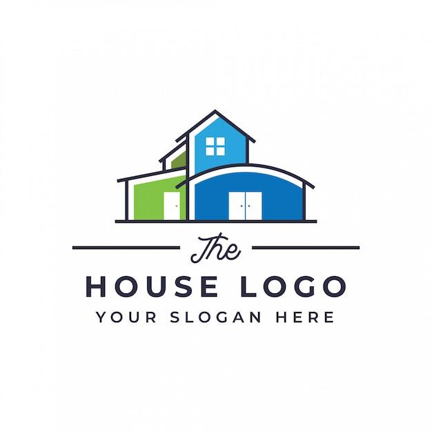 フラットハウスのロゴデザイン Premiumベクター