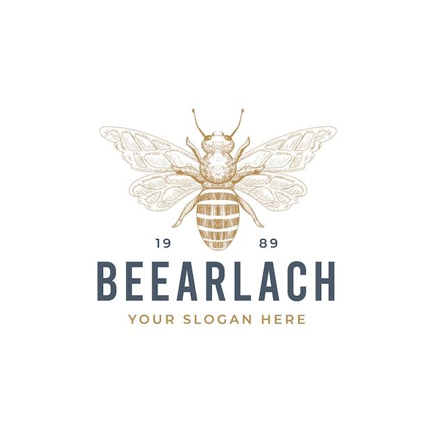 Урожай рисованной дизайн логотипа пчелы Premium векторы