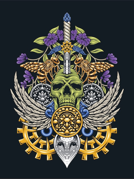 Череп арт с глазами совы стимпанк Premium векторы