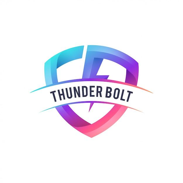 Дизайн логотипа гром Premium векторы