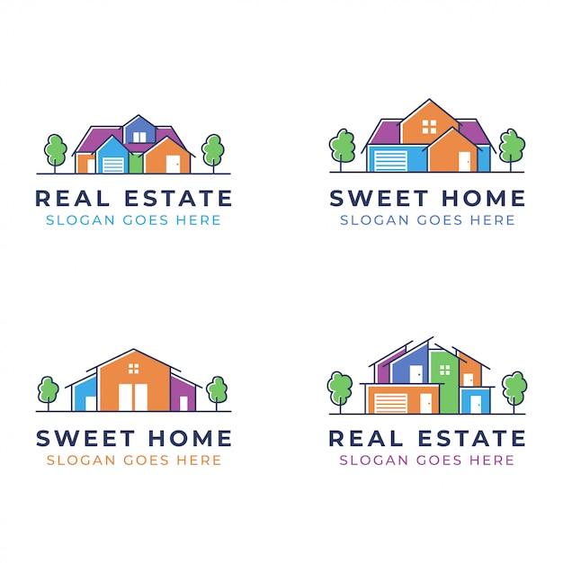 Набор дизайна логотипа дома для недвижимости или риэлтора Premium векторы