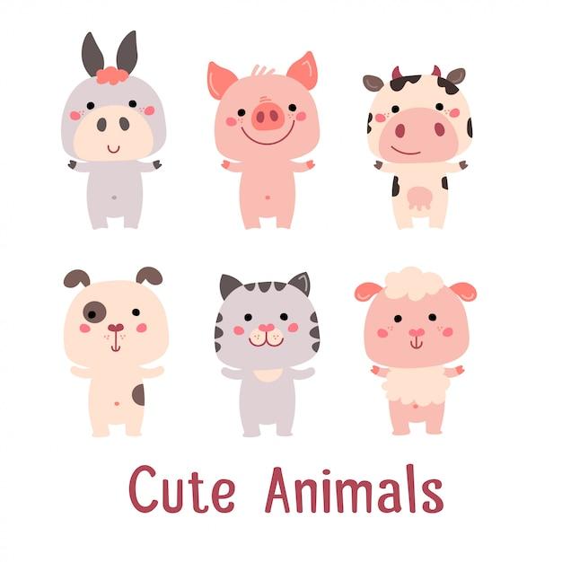 かわいいベクター動物:豚、猫、犬、羊、牛、ロバ Premiumベクター