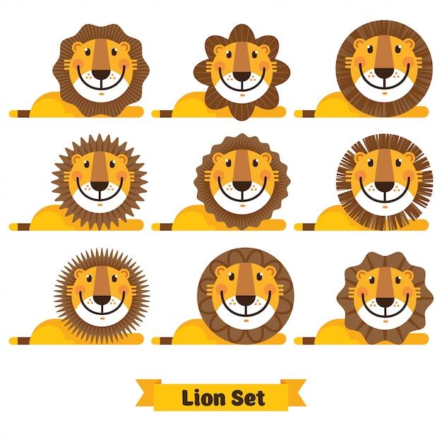 かわいいライオンの顔のさまざまなヘアスタイル Premiumベクター