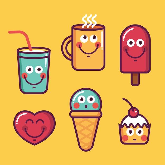食品、カワイイアイスクリーム、ハート、カップ、甘いの流行のクールなセット Premiumベクター