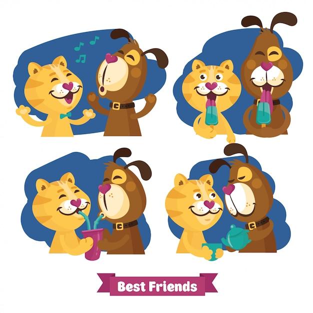 猫と犬の友情 Premiumベクター
