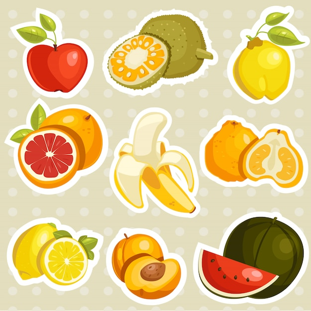 Мультфильм фрукты наклейки Premium векторы