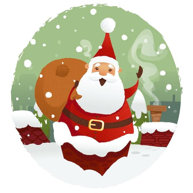 Санта с подарками Premium векторы