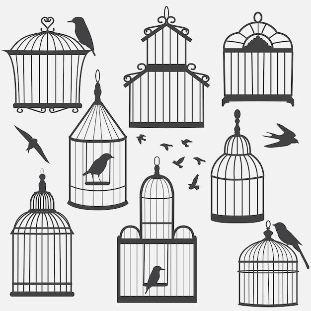 鳥かごのシルエット Premiumベクター